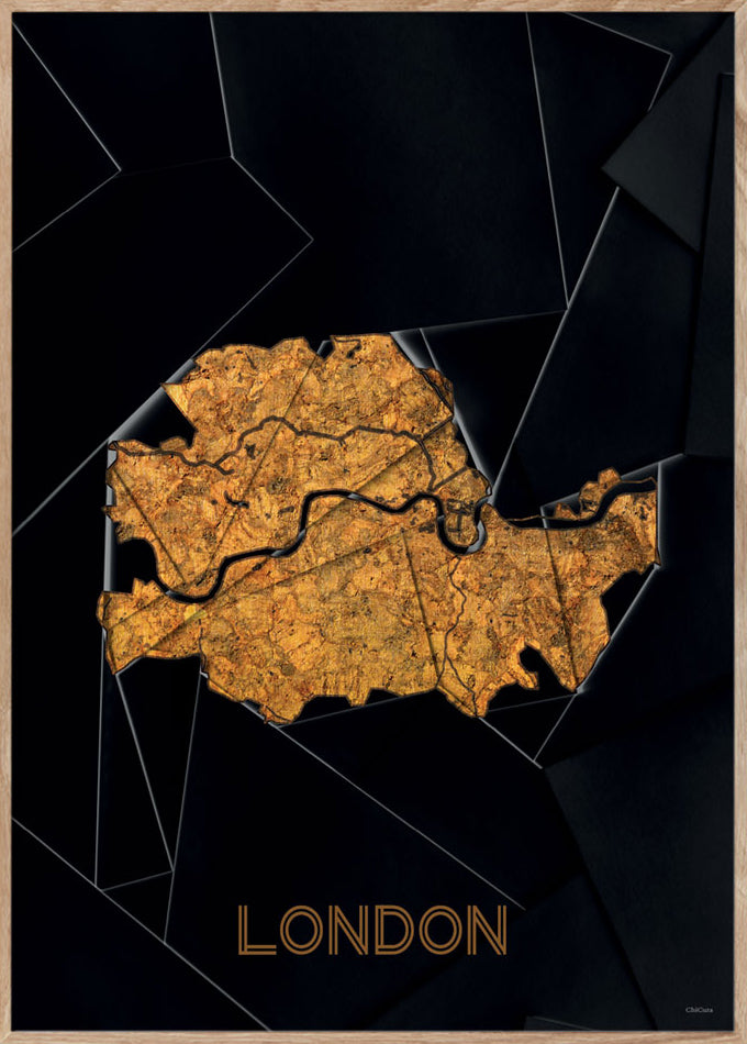 Maps London - 50x70cm - Black / Golden