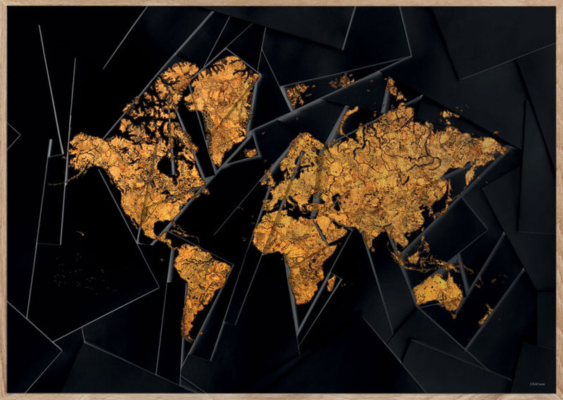 Maps Our World - A3 - Black / Golden