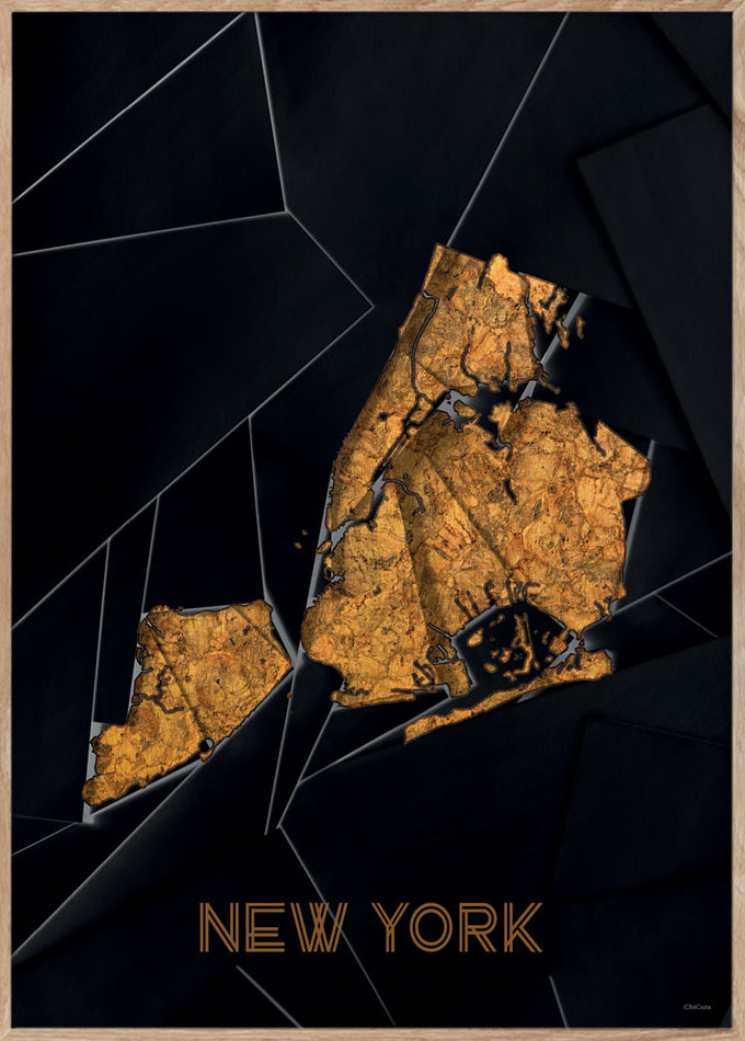 Maps New York - A3 - Black / Golden