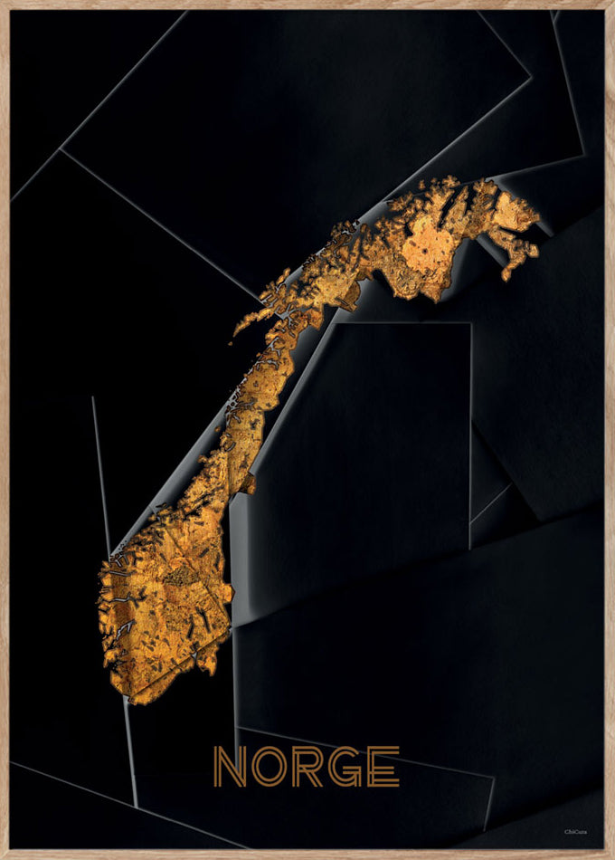 Maps Norge - 50x70cm - Black / Golden