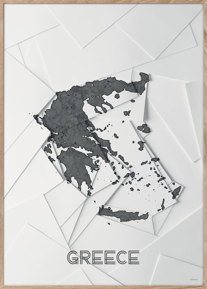 Maps Greece - 50x70cm - White / Grey