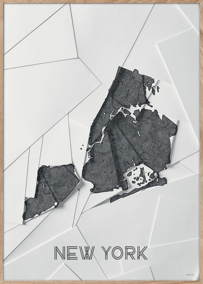 Maps New York - 50x70cm - White / Grey