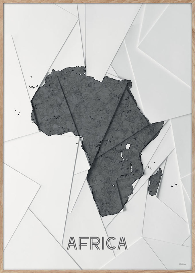 Maps Africa - A3 - White / Grey