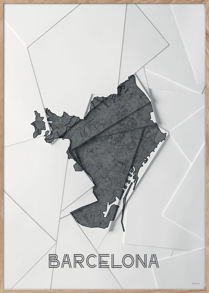 Maps Barcelona - 50x70cm - White / Grey