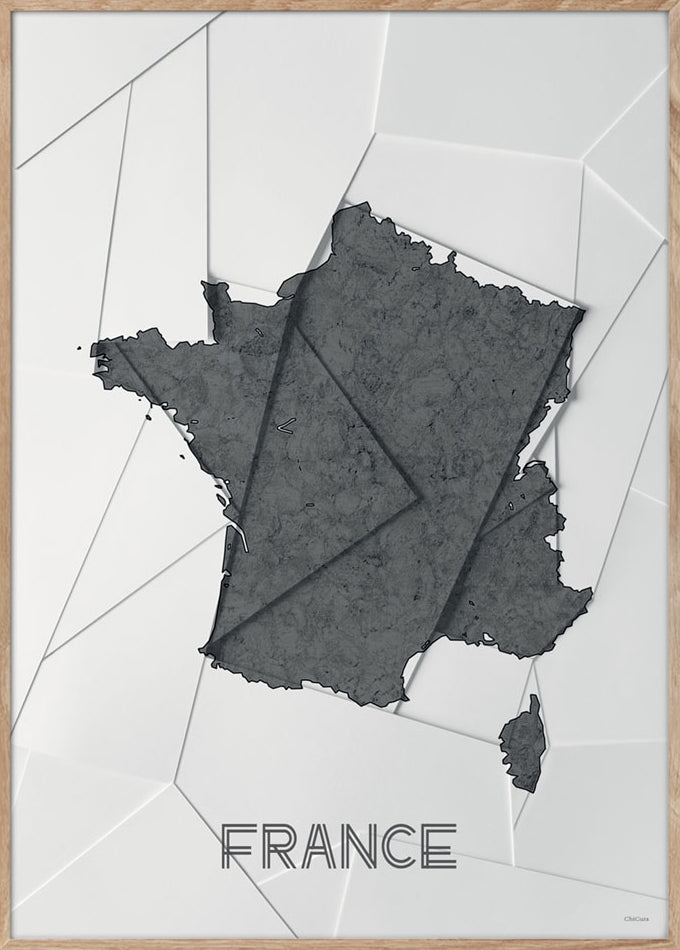 Maps France - A3 - White / Grey