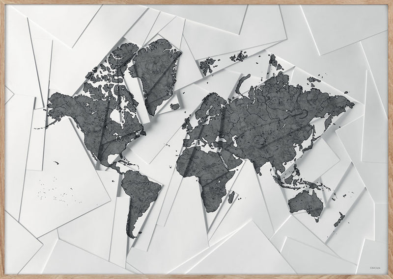 Maps Our World - A5 - White / Grey