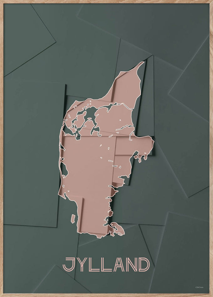 Maps Jylland - A3 - Green / Rose