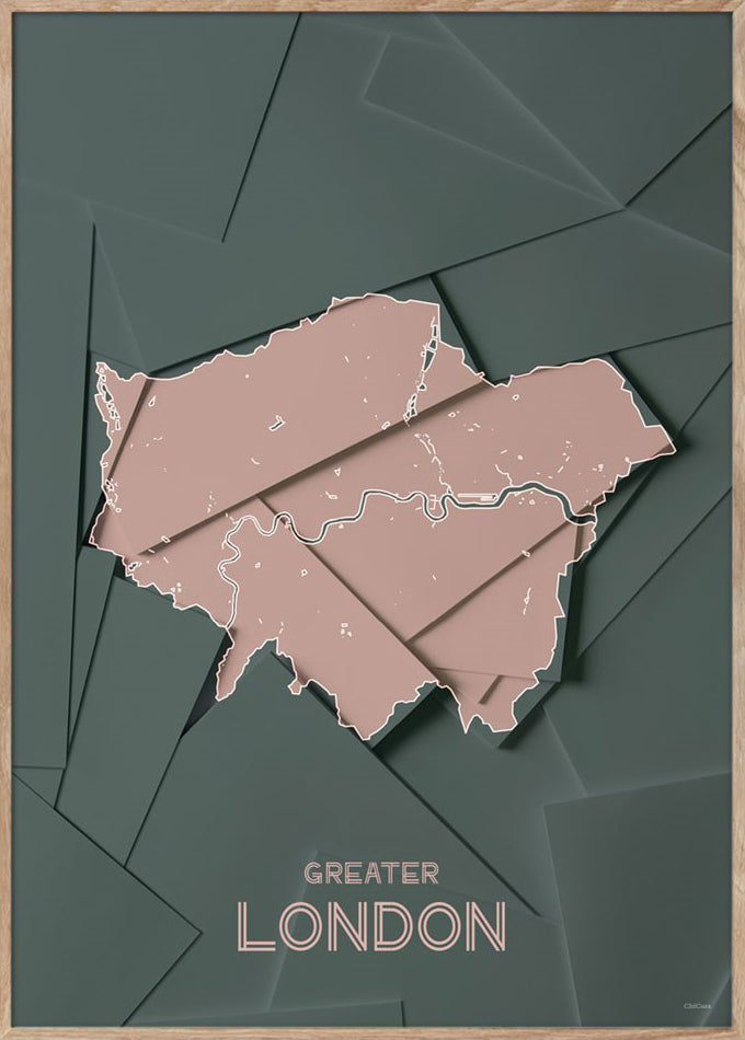 Maps Greater London - 50x70cm - Green / Rose