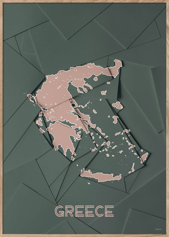 Maps Greece - 50x70cm - Green / Rose