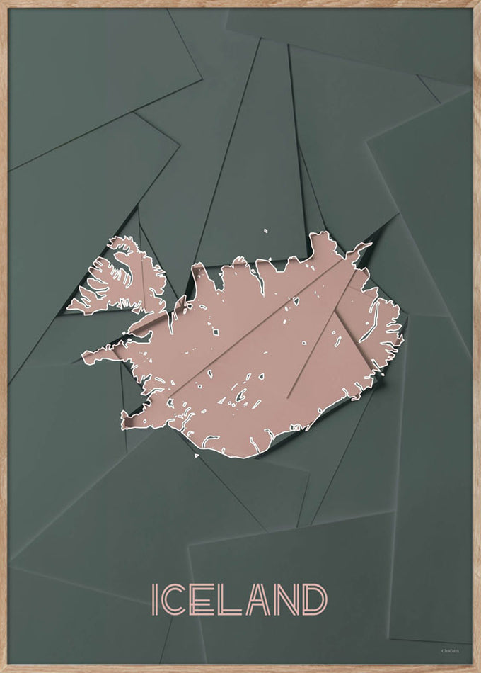 Maps Iceland - 50x70cm - Green / Rose