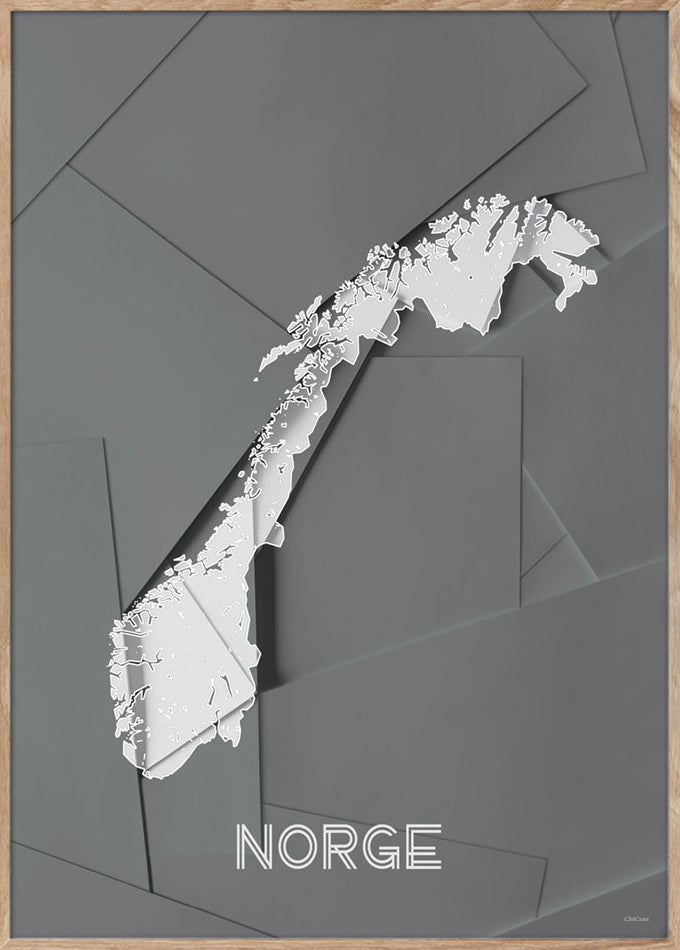 Maps Norge - A3 - Grey / White