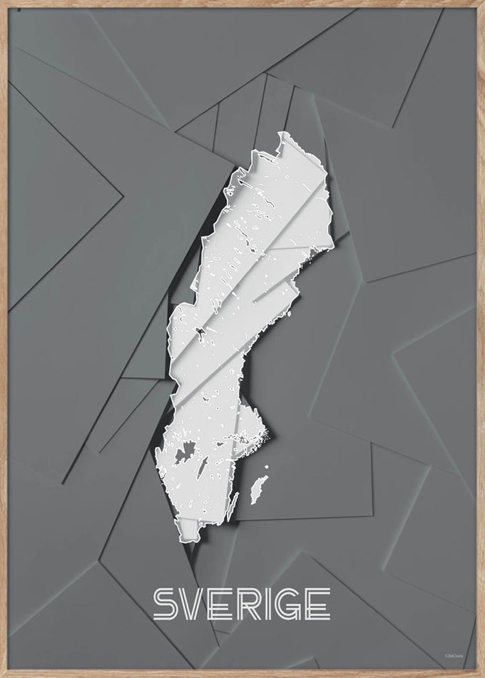 Maps Sverige - A5 - Grey / White