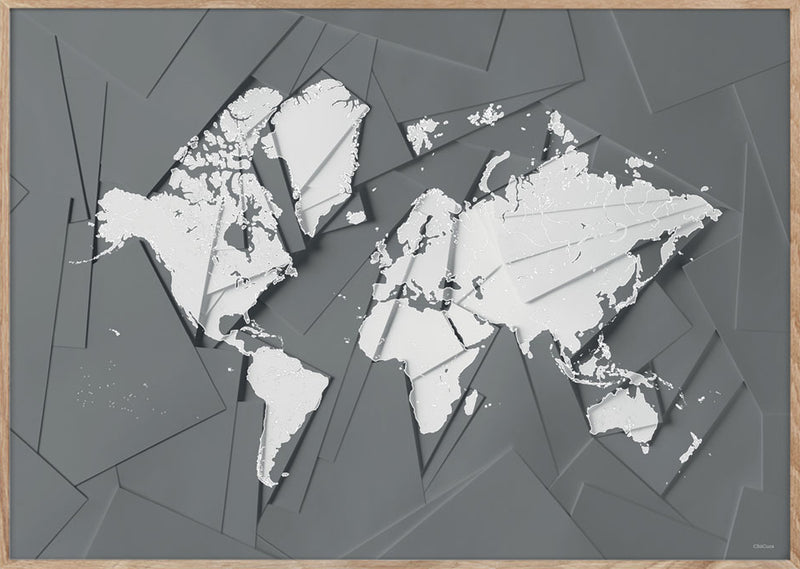 Maps Our World - 50x70cm - Grey / White