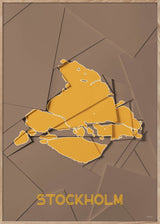 Maps Stockholm - A5 - Brown / Yellow