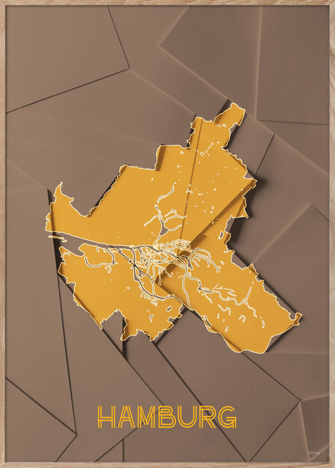 Maps Hamburg - A5 - Brown / Yellow