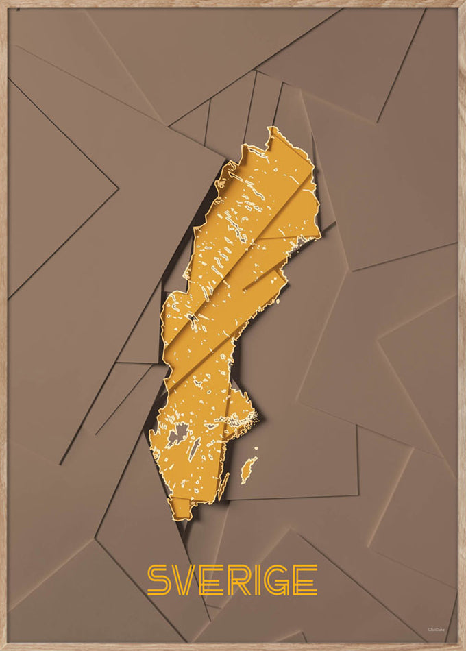 Maps Sverige - 50x70cm - Brown / Yellow
