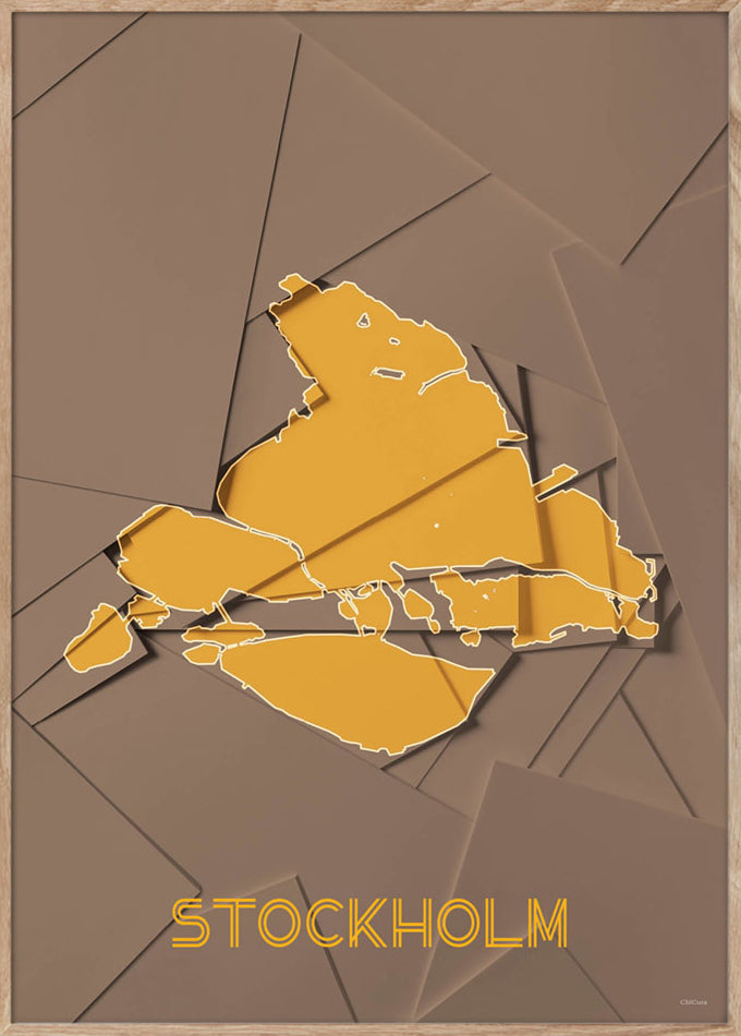 Maps Stockholm - 50x70cm - Brown / Yellow