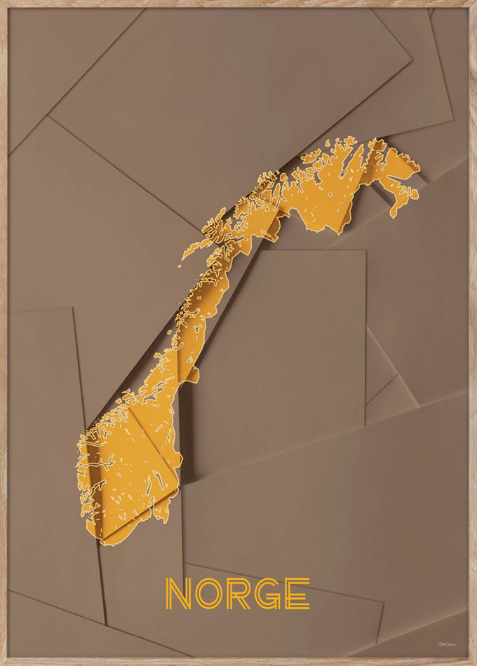 Maps Norge - A3 - Brown / Yellow