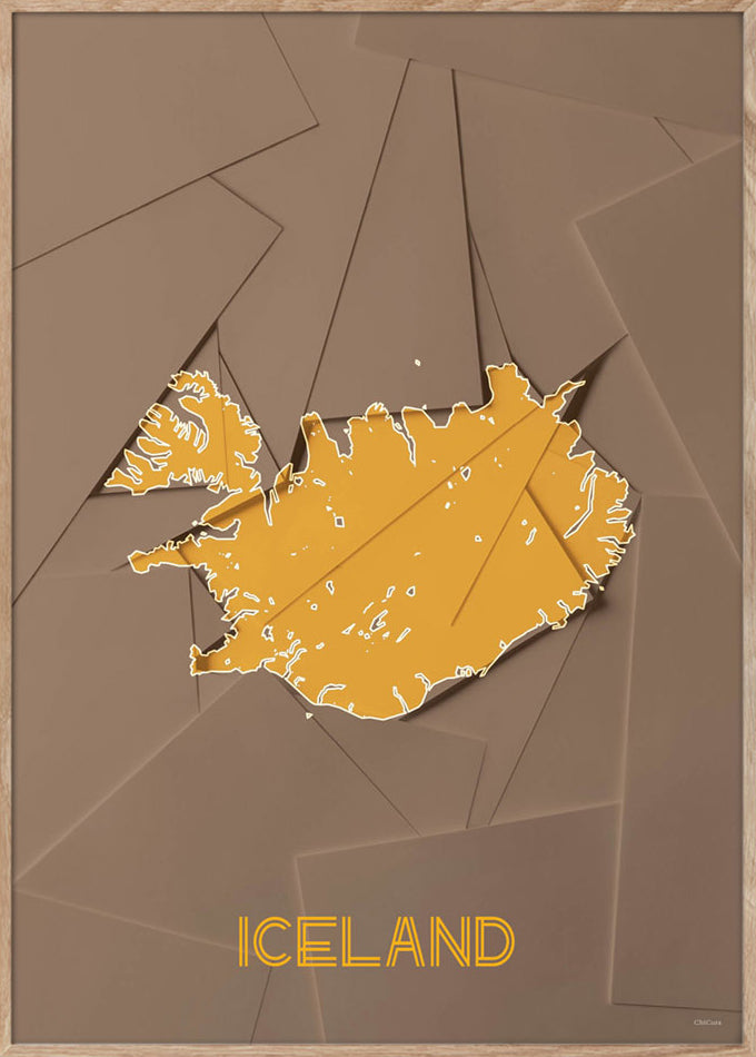 Maps Iceland - 50x70cm - Brown / Yellow