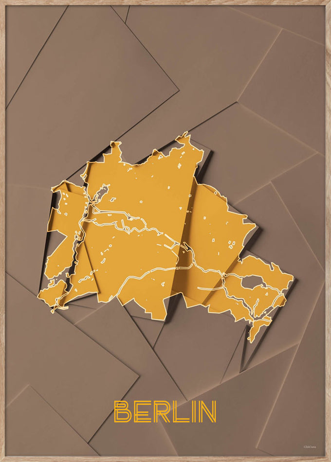 Maps Berlin - 50x70cm - Brown / Yellow