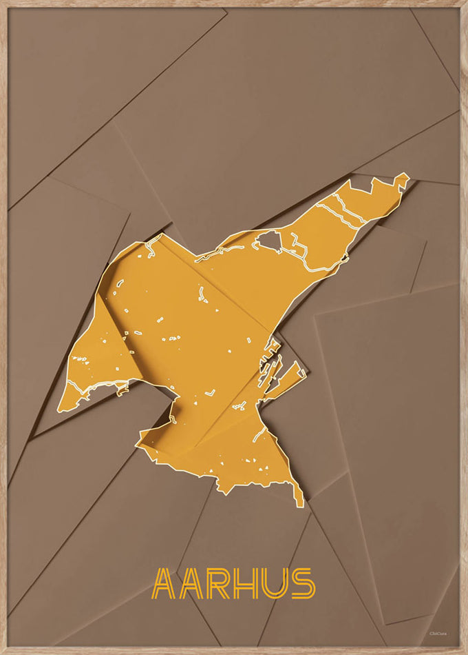 Maps Aarhus - A3 - Brown / Yellow