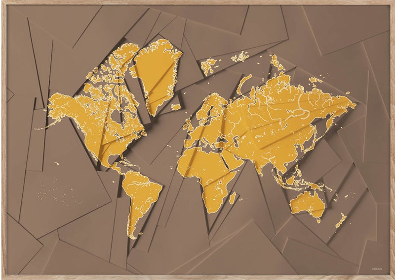 Maps Our World - 50x70cm - Brown / Yellow