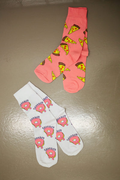 WALKING ON DONUTS & PIZZAS SOCKEN PACK