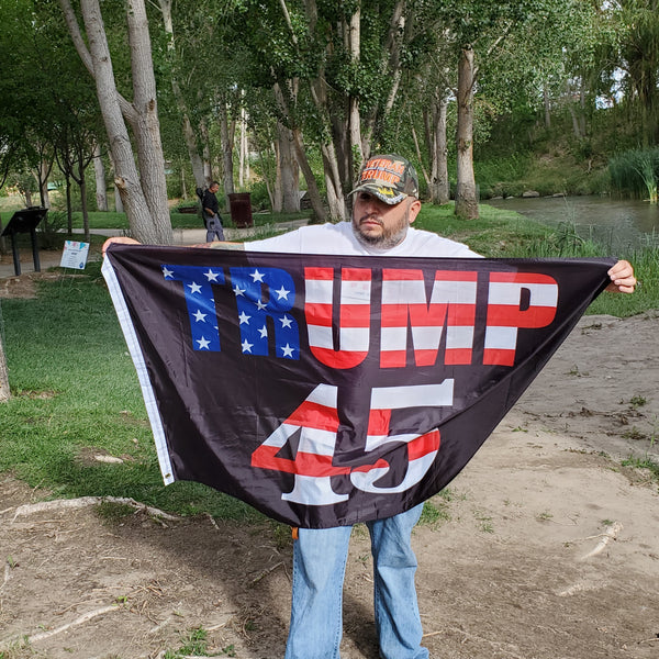Black Trump 45 Flag