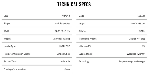 TAO 11'0 Specifications