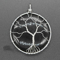 Obsidian Pendant (TREE OF LIFE WRAPPED!)