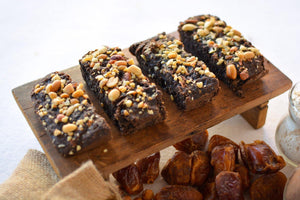 Date-Sweetened Dark Chocolate and Peanut Butter Brownies (6 pieces - 300g) - SampoornaAhara.com