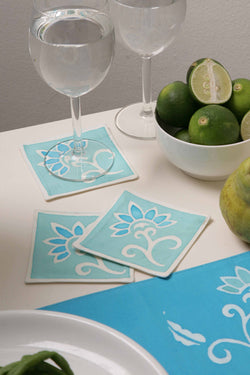 Pure cotton handmade flora drink coasters