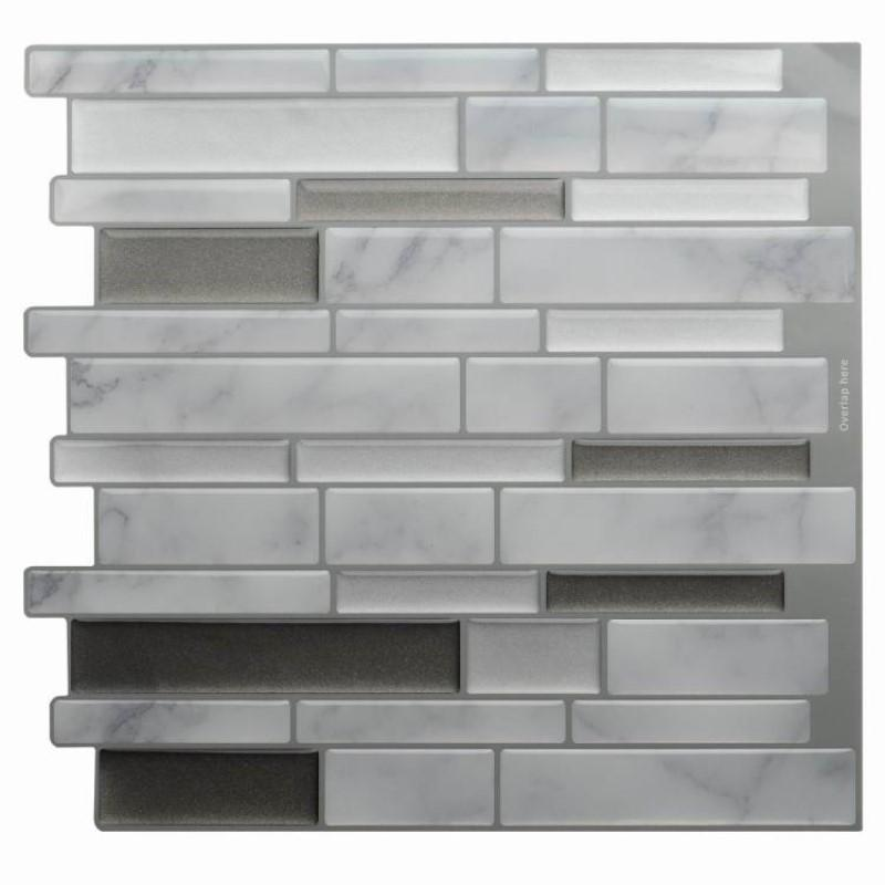 White Grey Marble Mosaic Peel and Stick Wall Sticker