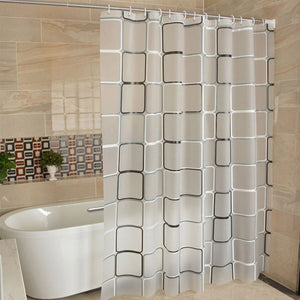WHITE AND SILVER SHOWER CURTAIN