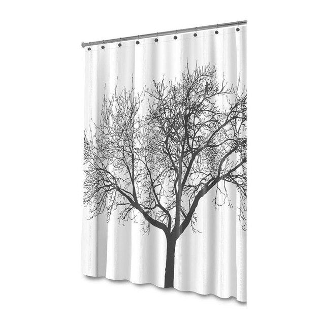 Tree Design Fabric Mildew Resistant Shower Curtain
