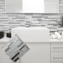 Load image into Gallery viewer, White Grey Marble Mosaic Peel and Stick Wall Sticker