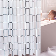 Load image into Gallery viewer, WHITE AND SILVER SHOWER CURTAIN