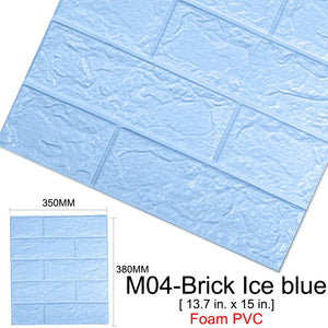 10Pcs 3D DIY Brick Self-Adhesive Waterproof Wall Stickers