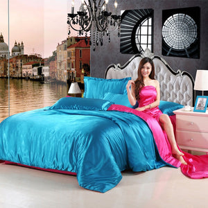 Home Textile Solid Color Pure Satin Silk Bedding Set