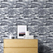 Load image into Gallery viewer, Light Gray Brick Self Adhesive Stone Peel And Stick Wallpaper