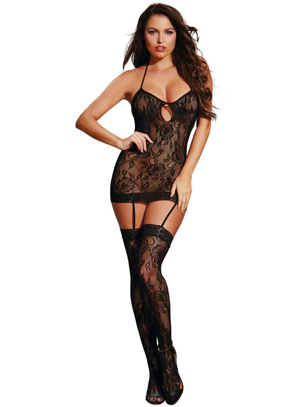 AIS Dreamgirl - Bodystocking dos nu noir taille unique 0258