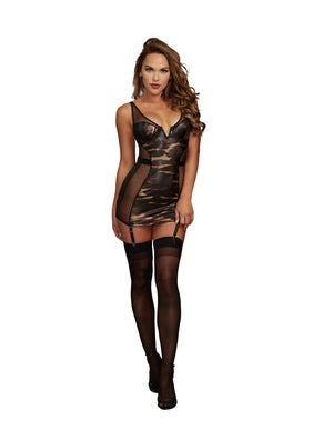 Jarretière AIS Dreamgirl noir / or extensible Power Mesh 11752