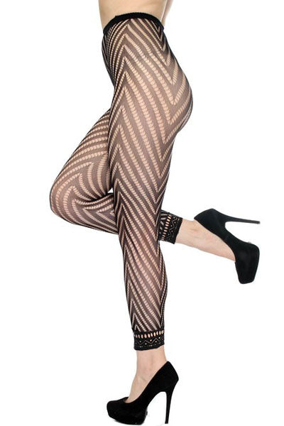 Collants sans pied en résille sexy à la mode avec collants à chevrons