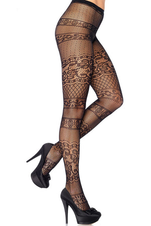 Collants rayés en dentelle antique