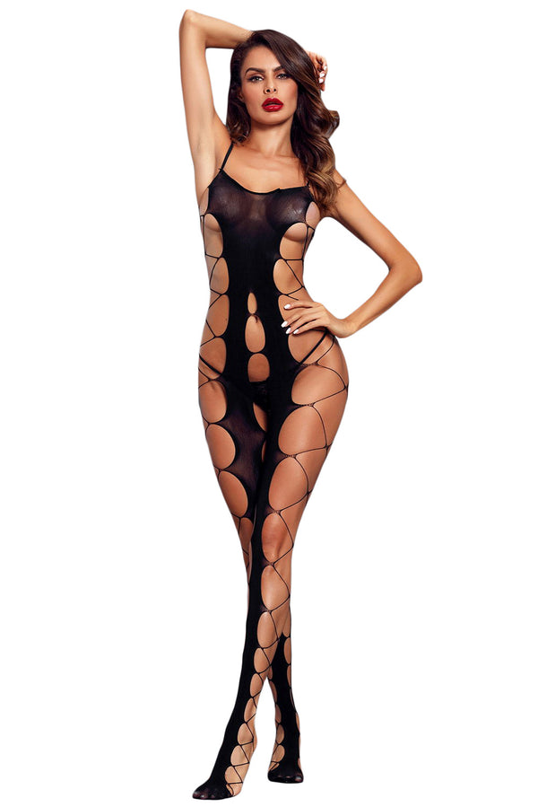 BodyStocking Sexy résille gros trous ouvert entrejambe
