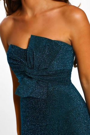 Robe mi-longue bandeau bleu Luxe Glam Knot Front