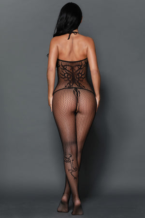Bodystocking licou de tatouage opaque sans couture