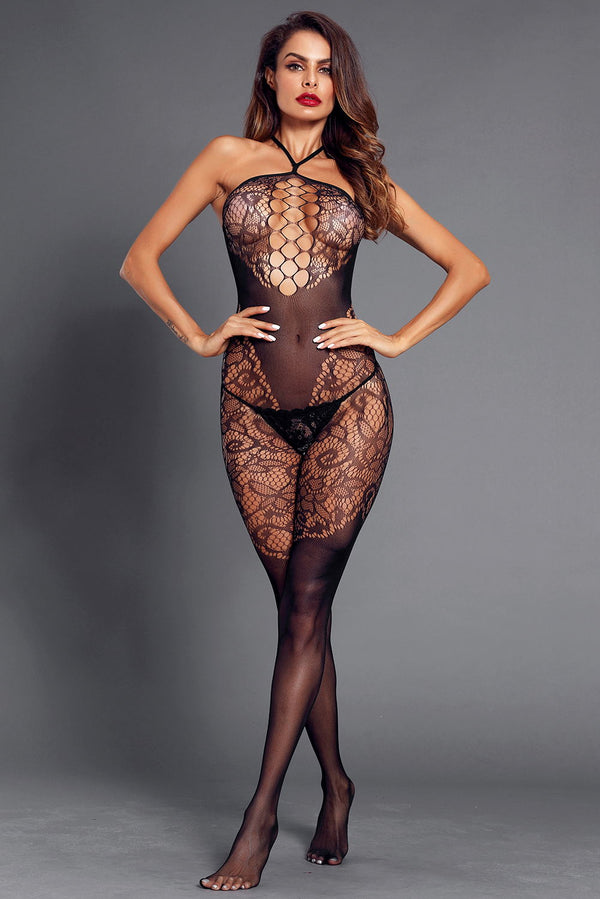 Bodystocking Halter sans couture noir