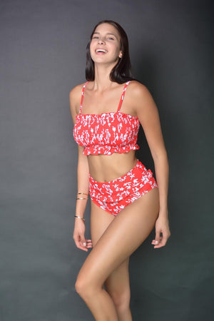 Ensemble de bikini crop top à imprimé floral