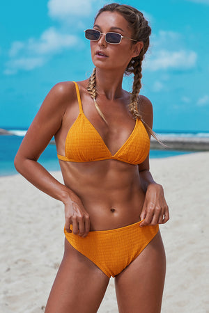 Ensemble de bikini smocké triangulaire